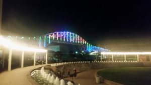 Corpus Christi Harbor bridge, lit up in rainbow LEDs